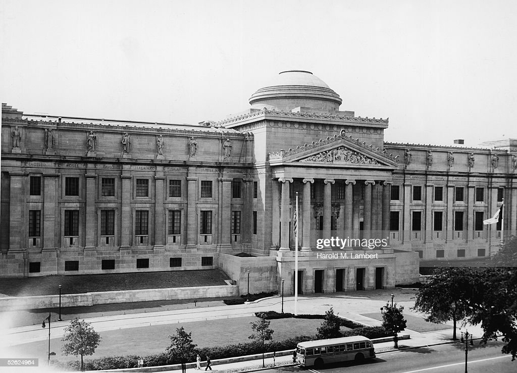 The entrance to the Brooklyn Museum on Eastern Parkway shows the main facade of the Beaux Arts NeoClassical building after the grand staircase was...