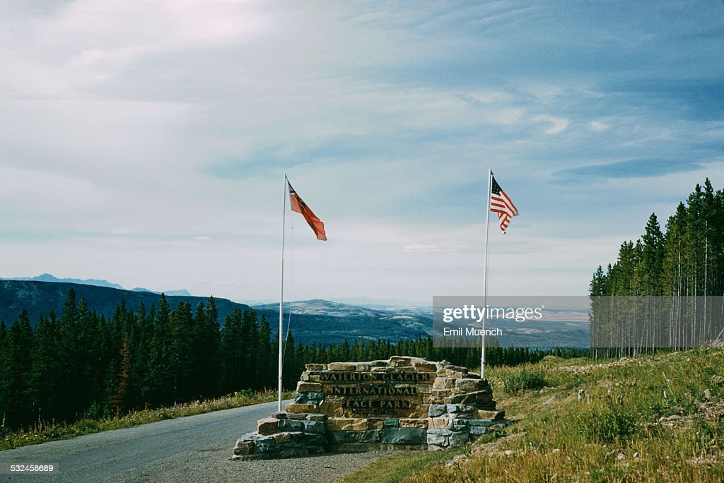 The entrance to the Canadian section of the WatertonGlacier International Peace Park situated between the Waterton Lakes National Park in Canada and...
