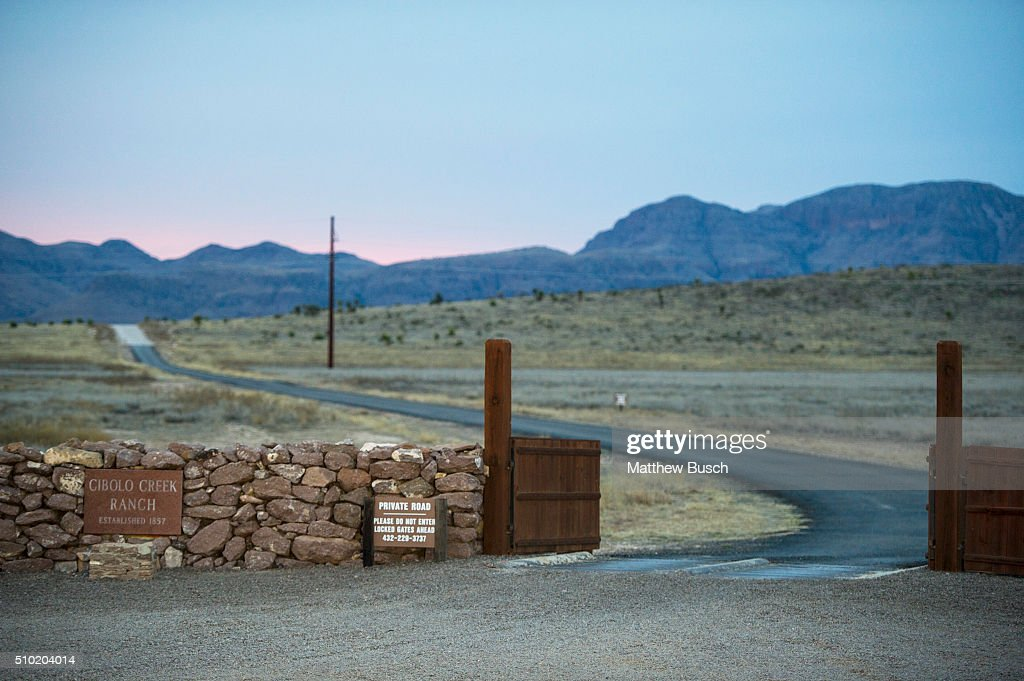 The entrance to the Cibolo Creek Ranch early Sunday, the day after the death of Supreme Court Justice Antonin Scalia, February 14 , 2016 in Shafter, Texas. Justice Scalia was 79.