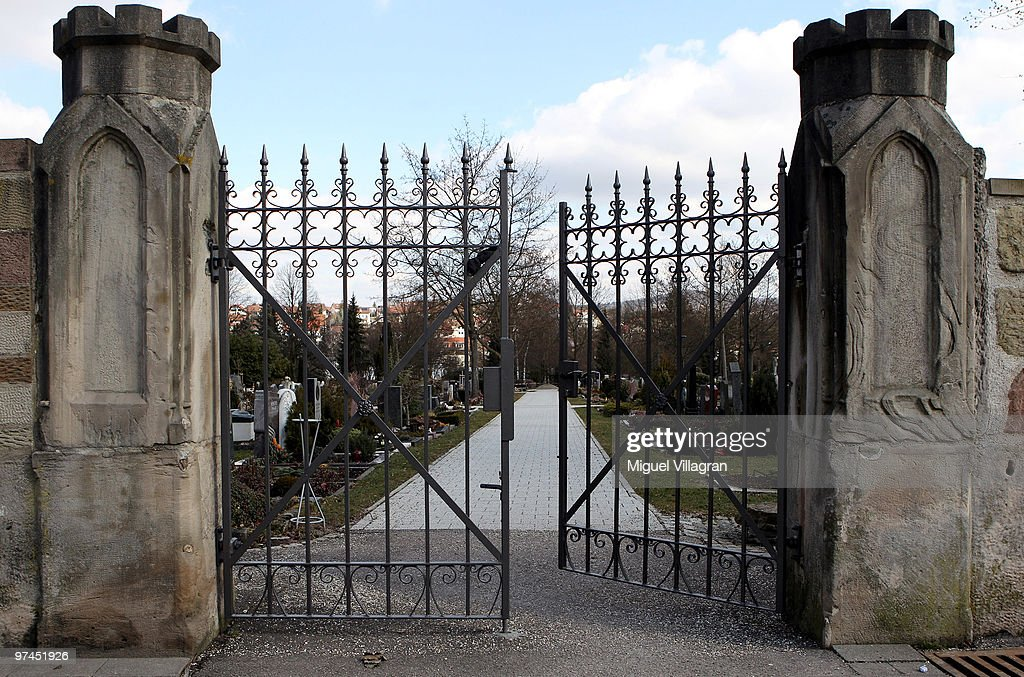 The entrance to the city's cemetery is pictured on March 5, 2010 in Winnenden, Germany. Tim Kretschmer opened fire on teachers and pupils at his former school on March 11, 2009, killing 15 and leaving many more injured. Kretschmer fled the scene and shot himself dead after being cornered by police.