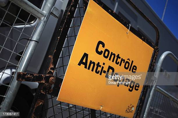 The entrance to the doping control area is show at the finish of stage eight of the 2013 Tour de France a 195KM road stage from Castres to Ax 3...