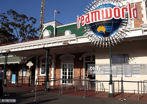 The entrance to the Dreamworld theme park is seen on Gold Coast on October 25 after four people were killed when a park ride malfunctioned Four...