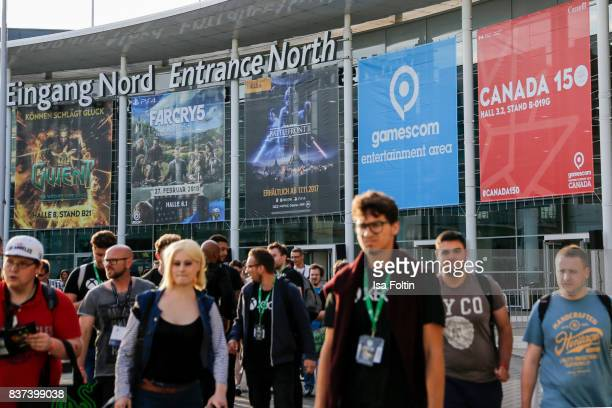 The entrance to the Gamescom 2017 gaming trade fair on August 22 2017 in Cologne Germany Gamescom is the world's largest digital gaming trade fair...