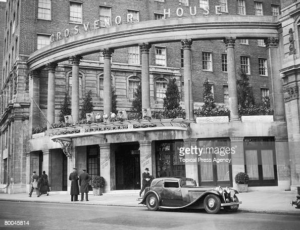 The entrance to the Grosvenor House Hotel in Park Lane London circa 1935