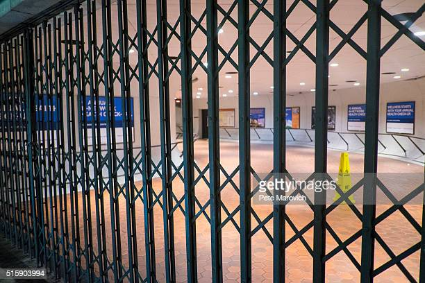 The entrance to the Metro Center station is gated closed during the morning rush hours on March 16 2016 in Washington DC Metro's General manager Paul...