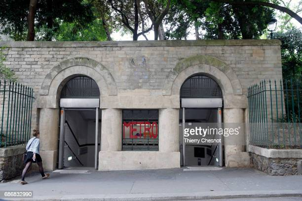 The entrance to the metro station 'Place Monge' is seen on May 22 2017 in Paris France The entrance of this station was built in 1930 and is located...