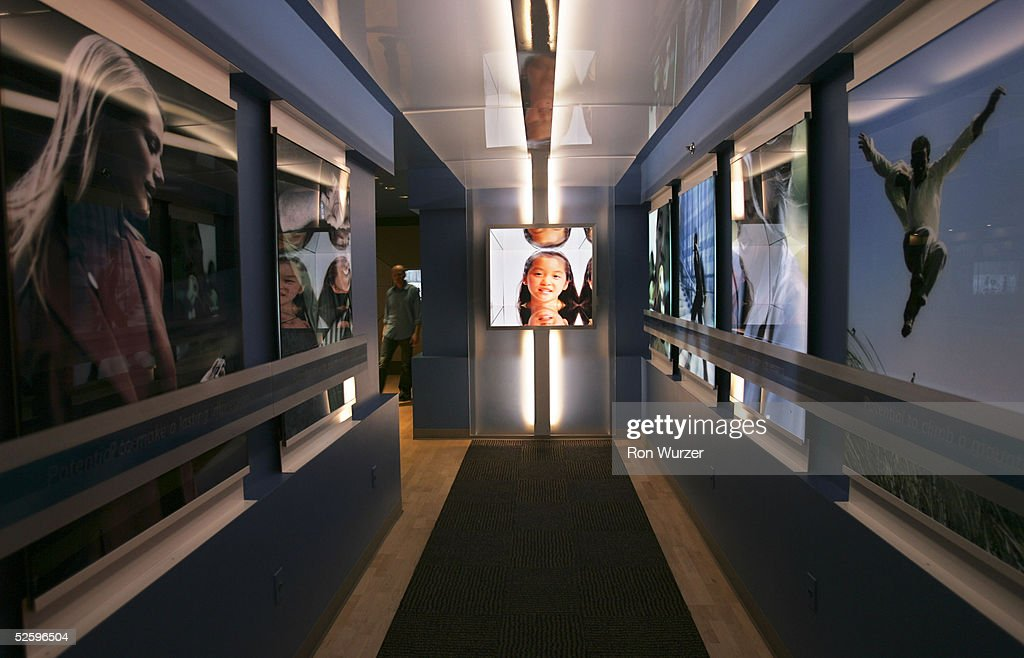 The entrance to the Microsoft Visitor Center is shown April 6 2005 in Redmond Washington The center displays a collection of handson software...