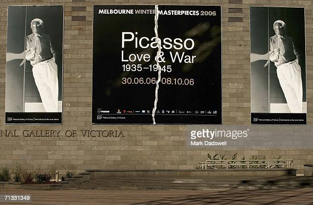 The entrance to the National Gallery of Victoria where Dora Maar's work chronicles the creation of Guernica by Picasso at the Picasso Love War...