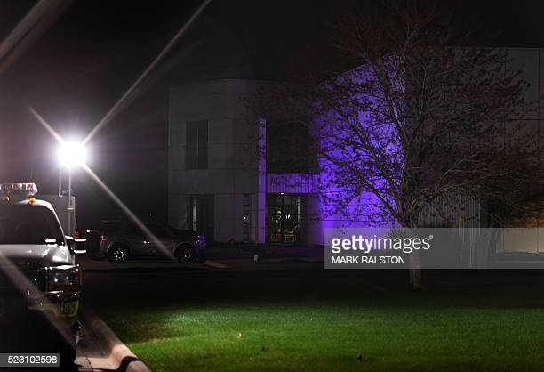TOPSHOT The entrance to the Paisley Park residential compound of music legend Prince in Minneapolis Minnesota on April 21 2016 Emergency personnel...