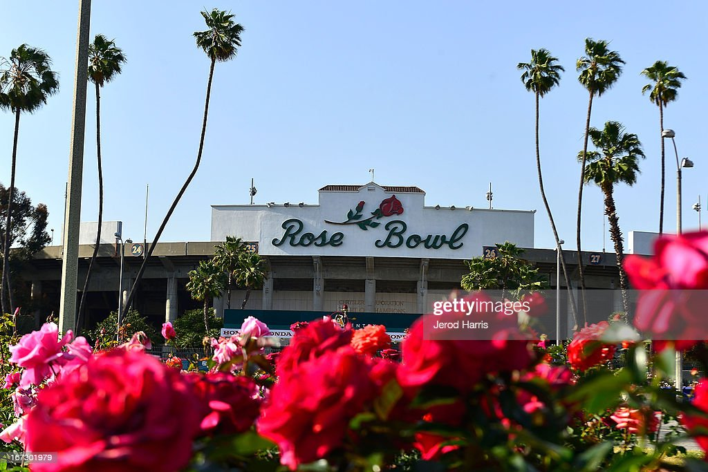 The entrance to the Rose Bowl Stadium during the 100th Rose Bowl game press conference on April 23, 2013 in Pasadena, California.