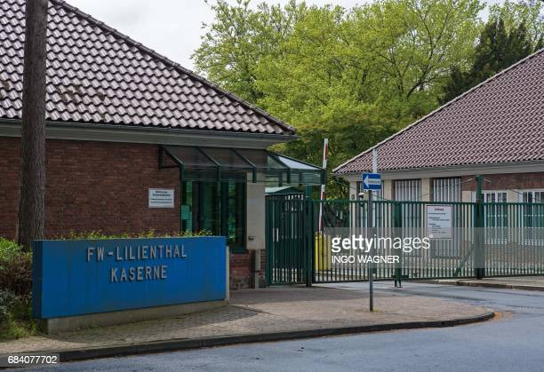 The entrance to the Sergeant Lilienthal baracks in Delmenhorst western Germany is pictured on May 12 2017 The baracks are named after Diedrich...
