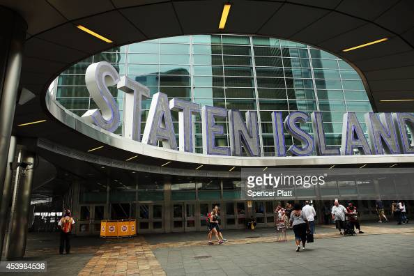The entrance to the Staten Islan ferry is seen a day before a planned protest and rally against police brutality in memory of Eric Garner August 22...