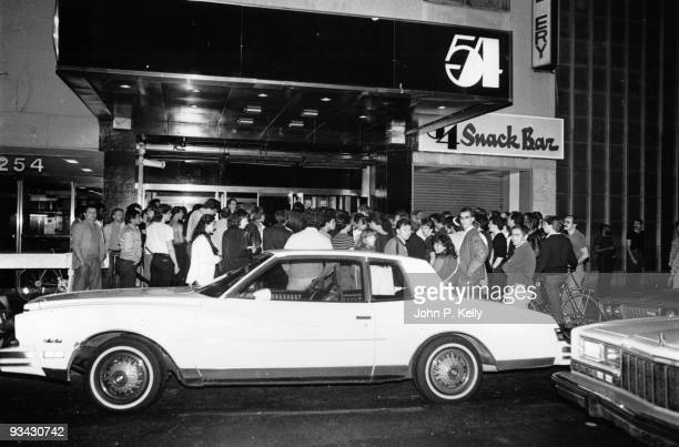 The entrance to the Studio 54 nightclub in New York City circa 1975