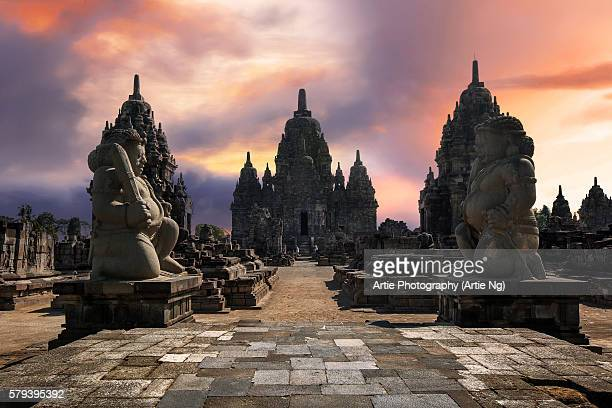 The Entrance to the Temple of Candi Sewu, Guarded by Twin Dvarapala Statues, North of Prambanan, Central Java, Indonesia