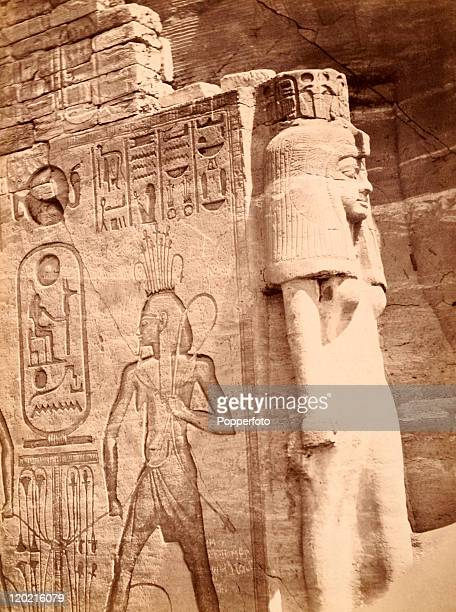 The entrance to the Temple of Hathor at Abu Simbel circa 1890