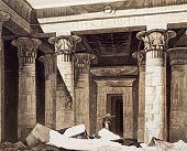The entrance to the Temple of Isis on Philae island Nubia engraving from Panorama of Egypt and Nubia by Hector Horeau