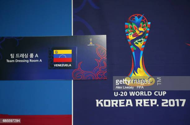 The entrance to the Venezuela team dressing room is seen prior to the FIFA U20 World Cup Korea Republic 2017 group B match between Venezuela and...