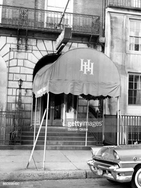 The entrance to the Vincent Club at the Hampshire House on the second floor of 84 Beacon St in Boston is pictured on Dec 6 1956