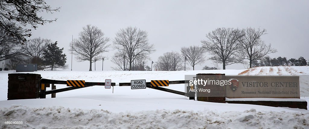 The entrance to the visitor center of Manassas National Battlefield Park is closed due to a snow storm February 13, 2014 in Manassas, Virginia. The Washington, DC, area is embracing the biggest sown storm in four years. Most of the metropolitan area has received almost a foot of snow so far.