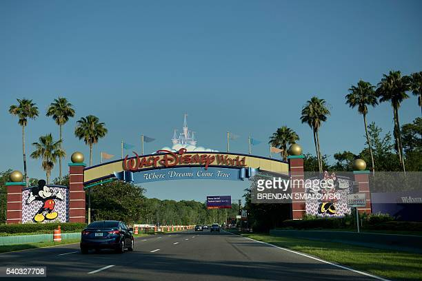 The entrance to the Walt Disney World theme park is seen June 15 2016 in Orlando Florida where a twoyearold boy was attacked by an alligator at the...
