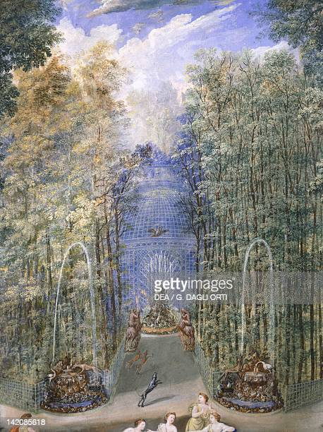 The entrance to the wood leading into the labyrinth in the gardens of Versailles by Jean Cotelle France 17th Century Gouache