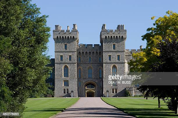 The entrance to Winsdor castle seen from the Great park wooded and hilly area covering 4800 acres Winsdor Berkshire United Kingdom