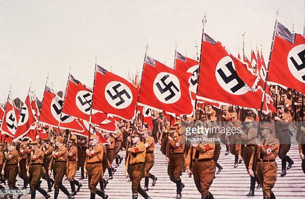 The entry of the colours or Swastikas at the German National Socialist Party Day at Nuremberg