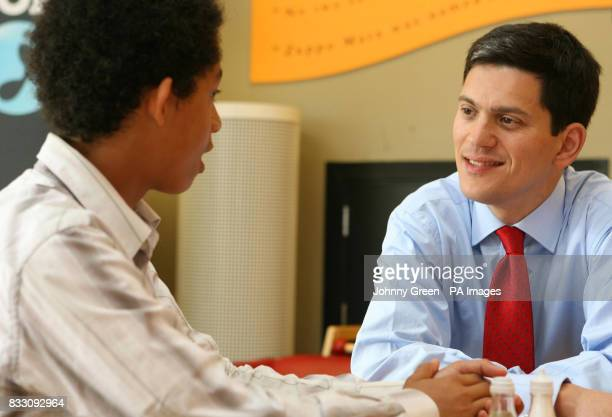 The Environment Secretary David Miliband is interviewed by the Climate Change Champion for the southeast of England Jordan Stephens 15 and from...