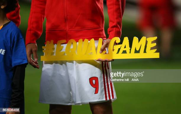 The Equal game plaque during the UEFA Champions League group A match between SL Benfica and Manchester United at Estadio da Luz on October 18 2017 in...