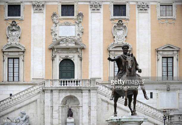 The equestrian Statue of emperor of the Roman empire Marcus Aurelius copy of the original on display at the Capitolini museums stands on the Piazza...