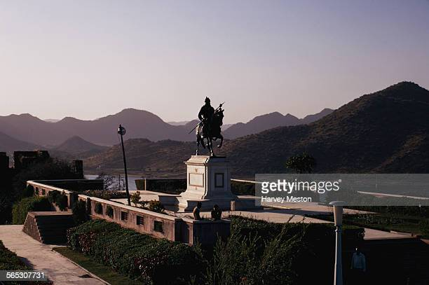 The equestrian statue of Rajput hero Maharana Pratap on his horse Chetak atop the Moti Magri or Pearl Hill in Udaipur India 1972 The memorial...