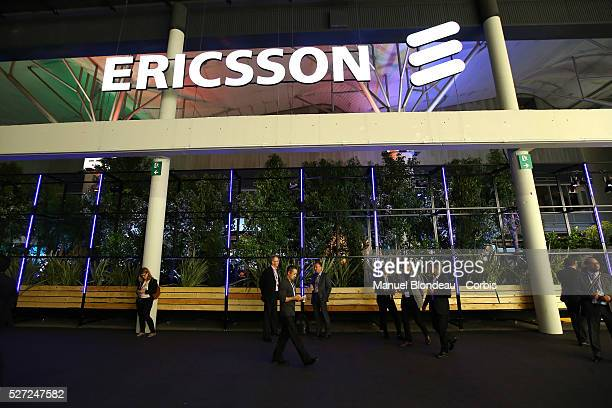 The Ericsson logo is displayed at the Ericsson pavillon during day four of the Mobile World Congress at the Fira Gran Via complex in Barcelona Spain...