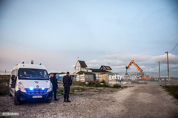 The Eritrean church last place of worship of the jungle is destroyed at sunrise days in Calais on November 3 2016 Over 350 women and Their children...