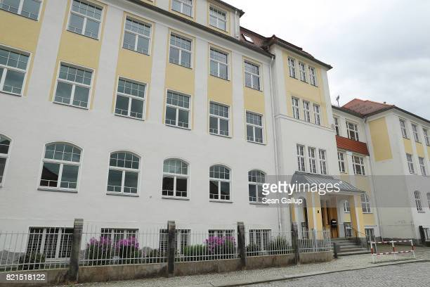 The ErnstRietschelOberschule high school stands closed during summer vacation on July 24 2017 in Pulsnitz Germany Linda W a German teenager from...
