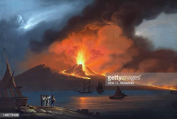 The eruption of Vesuvius in 1822 gouache 19th century