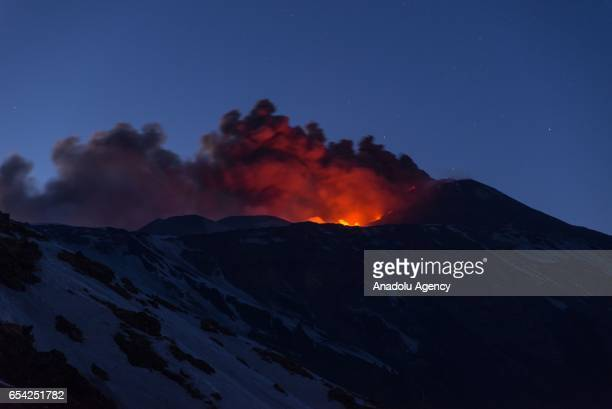 The eruptive activity of the volcano Etna's southeast crater is seen from 2100 meters above mean sea level on March 16 2017 in Catania Italy Mount...