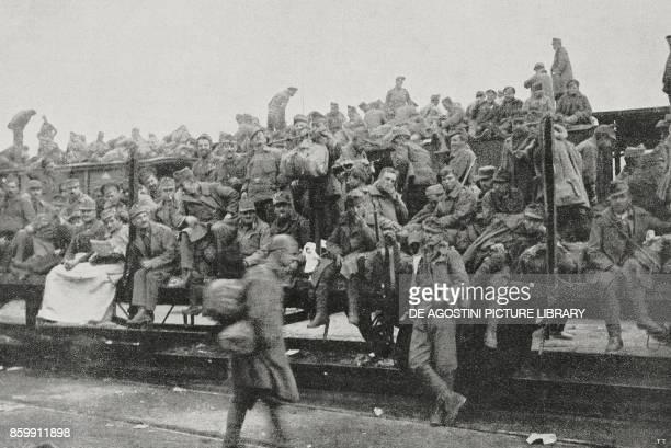 The escape of Hungarians from Bolzano Trentino AltoAdige Italy World War I from l'Illustrazione Italiana Year XLV No 47 November 24 1918