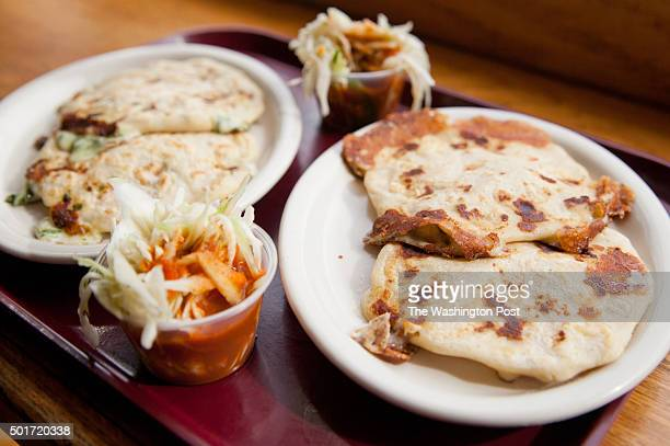 The espinaca and quesillo pupusas served with salsa and curtido a fermented cabbage slaw While mozzarella is used in the other pupusas the quesillo...
