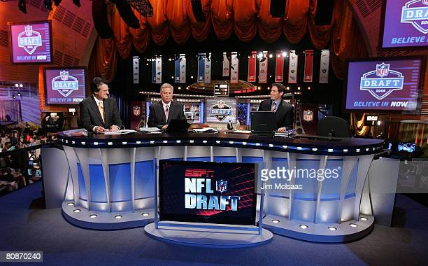 The ESPN broadcast team of Mel Kiper Chris Mortensen and Steve Young prepare for the 2008 NFL Draft on April 26 2008 at Radio City Music Hall in New...