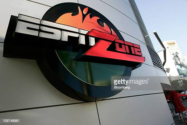 The ESPNZone logo is displayed outside the facility at LA Live in Los Angeles California US on Tuesday Aug 31 2010 Time Warner Cable Inc's...