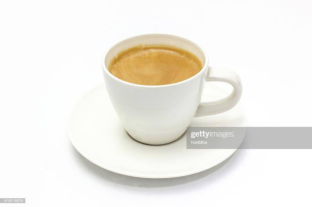 The espresso coffee in white background : Stock Photo