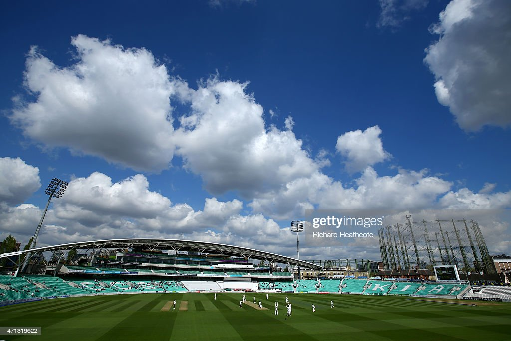 The Essex players appeal for a wicket during the LV County Championship match between Surrey and Essex at The Kia Oval on April 27 2015 in London...