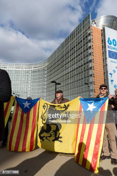 The Estelada flag is displayed alongside the Flag of Flanders as 200 Catalan proindependence mayors demonstrate in support of detained officials in...