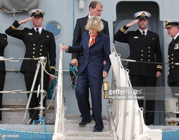The eternal flame from John F Kennedys grave is delivered by Jean Kennedy Smith and the Irish Naval service to the port of New Ross in Co Wexford as...