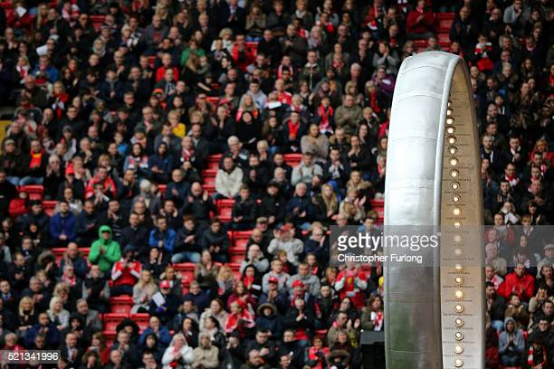 The 'Eternal Ring' is seen during a memorial service to mark the 27th anniversary of the Hillsborough disaster at Anfield stadium on April 15 2016 in...