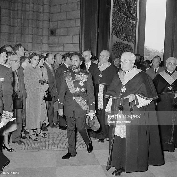 The Ethiopian Emperor Haile Selassie Enters At Notre Dame Of Paris For A Mass On October 31St 1954