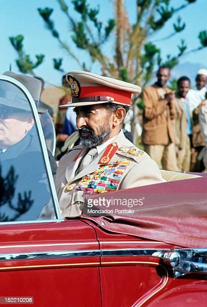 The Ethiopian Negus Haile Selassie I sitting in a car Addis Abeba 1966