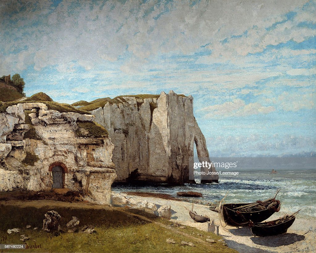 The Etretat cliffs after the storm Painting by Gustave Courbet 1870 133 x 162 m Orsay Museum Paris