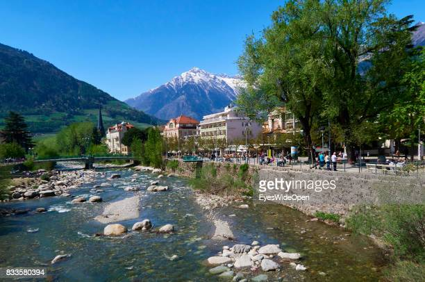 The Etsch river in the green city centre of Meran in South Tyrol on April 21 2015 in Lana Italy
