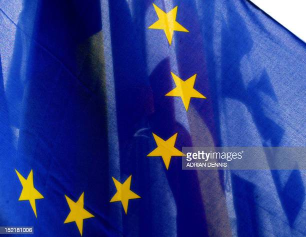 The EU flag flies infront of the member state flags including the ten new member states at the media center at Farmleigh Pheonix Park in Dublin 30...